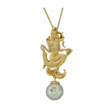 14 Kt Mermaid Pendant With Pearl And Diamonds