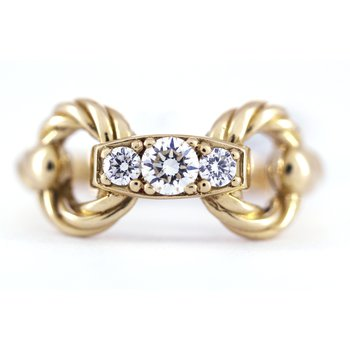 Diamond and Yellow Gold Horse Bit Ring