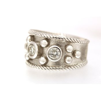 White gold and diamond wide band ring