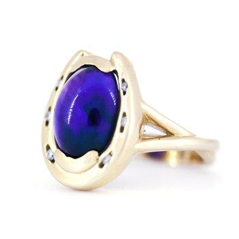 Amethyst, Diamond and Yellow Gold Horseshoe Ring