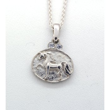 sterling silver and CZ horse pendant