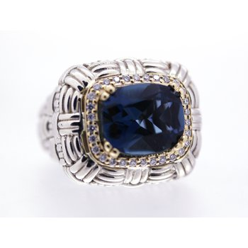 London Blue Topaz and Diamond, Two Tone, Ring