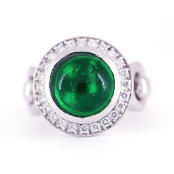 Green Tourmaline, Diamond and White Gold Horse Bit Ring