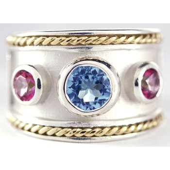 14kt Gold and Sterling Silver Ring with Blue and Pink Topaz