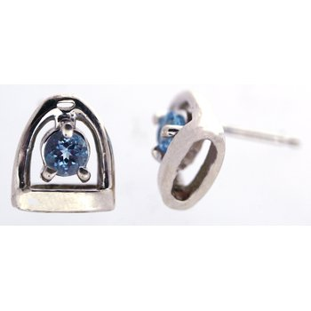 Sterling Silver Stirrup Earrings with Blue Topaz