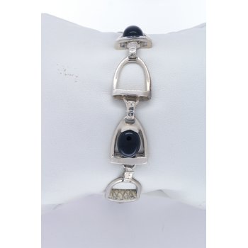 sterling silver and Onyx horse stirrup bracelet