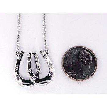 Diamond and White Gold, Double Horseshoe Necklace