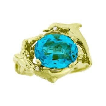 Blue Topaz Porpoise Ring