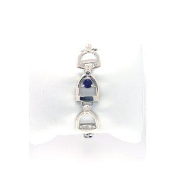 Sterling silver and Amethyst horse stirrup bracelet