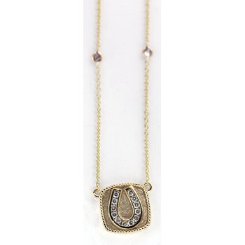14kt Yellow Gold Horse Shoe Necklace with Diamonds