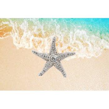 Diamond and white gold starfish pendant