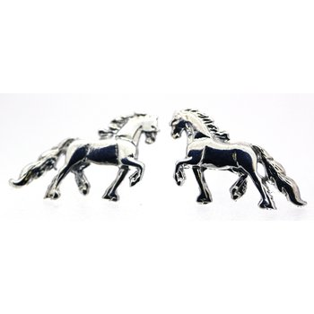 Sterling Silver Driving Horse Earrings