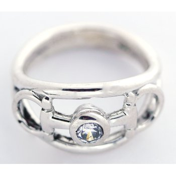 Sterling Silver Horse Bit Ring with CZ Center