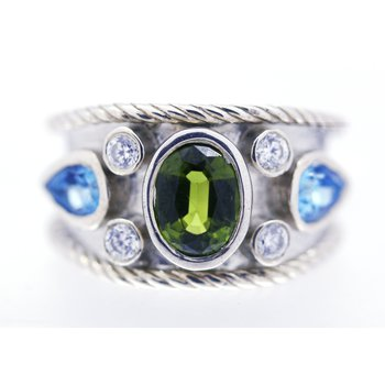 Peridot, Blue Topaz and CZ, Sterling Silver Large Band Ring