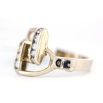 Diamond and Yellow Gold Horse Stirrup Ring