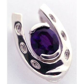 Sterling Silver Horse Shoe Pendant with Amethyst Center