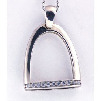 Diamond and Sterling Silver Horse Stirrup Pendant