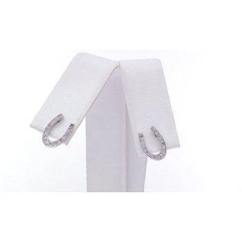 white gold and diamond horseshoe earrings