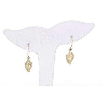 Yellow Gold Shell Earrings