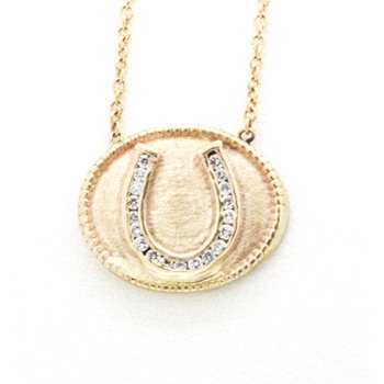 Diamond and yellow gold horseshoe plaque necklace