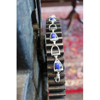 Sterling silver and Lapis horse stirrup bracelet