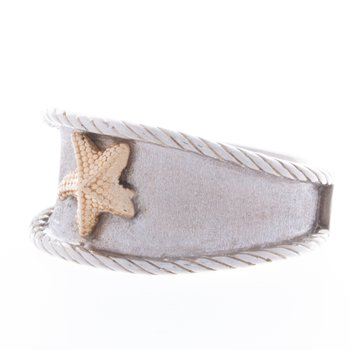 Sterling Silver Wide Band 14kt Yellow Gold Starfish Ring