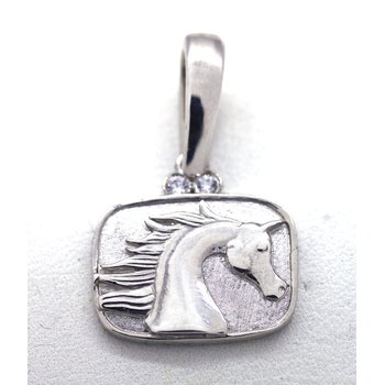 Sterling Silver and CZ Horse Head, Plaque Pendant