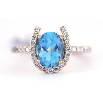 Blue Topaz, Diamond and Yellow Gold Horseshoe Ring