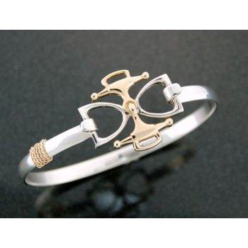 Lestage 7'' Bangle Bracelet W/  Gold/Sterl Bit/Stirrup Clasp