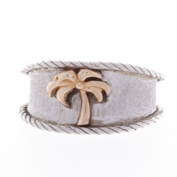 Wide Band Sterling Silver and 14 K gold Palm Tree Ring