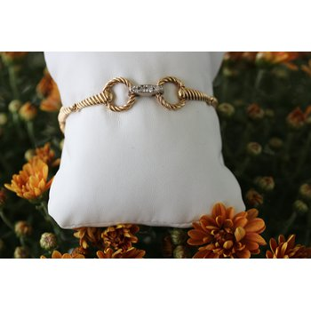 Two tone gold and diamond, twisted horse bit bracelet