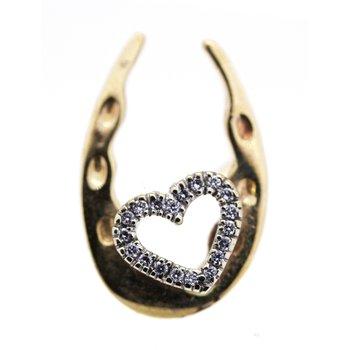 Yellow Gold and Diamond, Heart on Horseshoe Pin