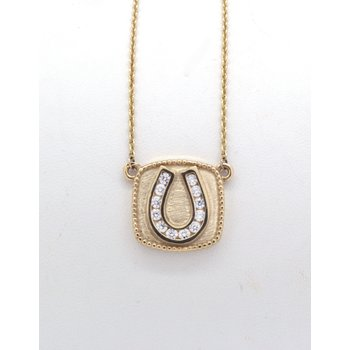 Yellow Gold and Diamond Horseshoe, Plaque Necklace