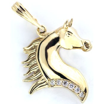 14kt Yellow Gold Arabian Horse Head Pendant with Diamonds