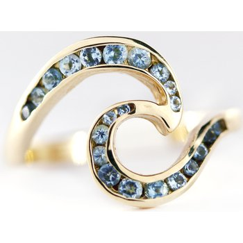 14kt Wave Ring with Blue Topaz