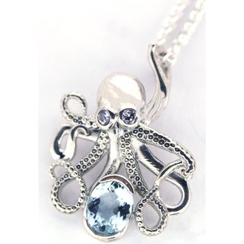 Sterling Silver Octopus Pendant with Aqua and CZ
