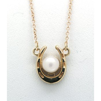pearl and gold horseshoe pendant
