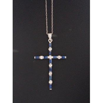 Diamond Sapphire Cross Necklace