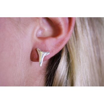 Sterling Silver Shark Teeth Earrings