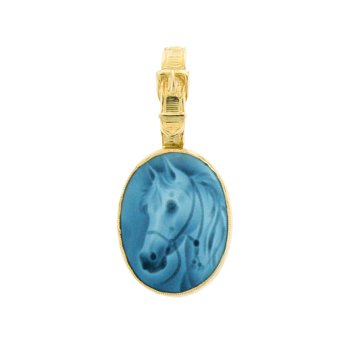 Horse Head Cameo Pendant