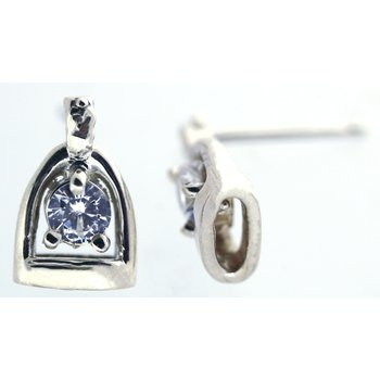 Sterling Silver Stirrup Earrings with CZ