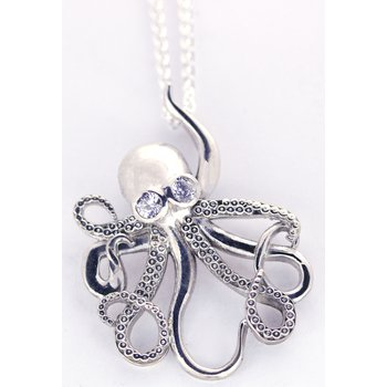 Sterling Silver Octopus Pendant with CZ
