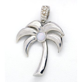 Sterling Silver and Opal Palm Tree Pendant