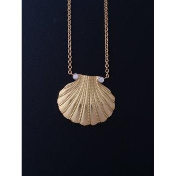 Plat Shell Diamond Gold Necklace