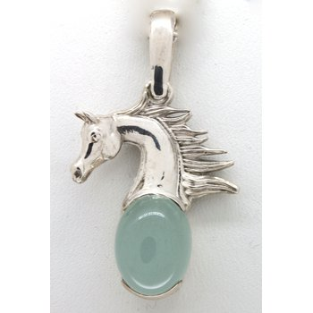 Sterling silver horse head pendant with an Aquamarine Cabochon