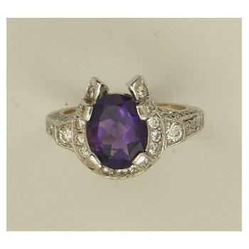 Diamond And Amethyst Horseshoe Ring