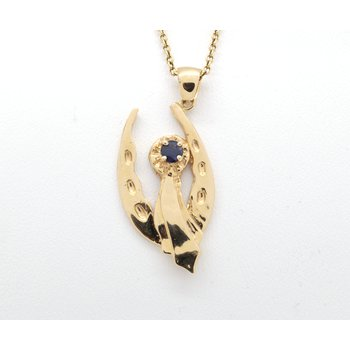 Yellow gold and sapphire blue ribbon and horseshoe pendant