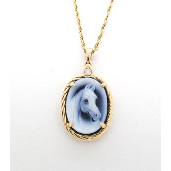 Blue and white horse cameo in a yellow gold frame
