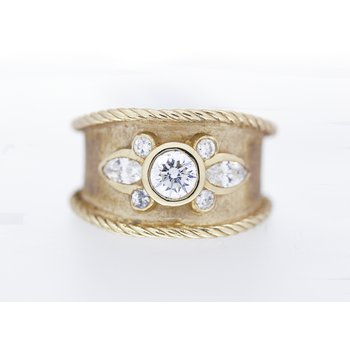 Diamond and Yellow Gold, Wide Band Ring