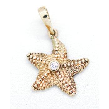 Diamond and Yellow Gold Starfish Pendant